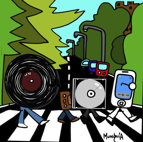 Cartoon: Music steps (medium) by Munguia tagged lp,long,play,vinyl,casette,compac,disc,cd,mp3,iphone,phone,smartphone,beatles,abbey,road,cover,album,parodies