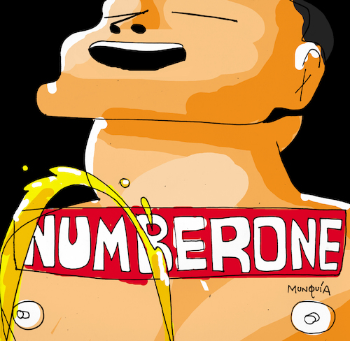 Cartoon: Number One (medium) by Munguia tagged the,bends,radiohead,cover,album,parody,parodies,piss,spoof,version,funny,fun