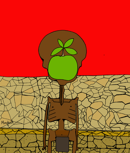 Cartoon: El hijo del Hambre Son of Hunger (medium) by Munguia tagged dry,thin,apple,african,africa,hunger,hungry,starving,man,of,son