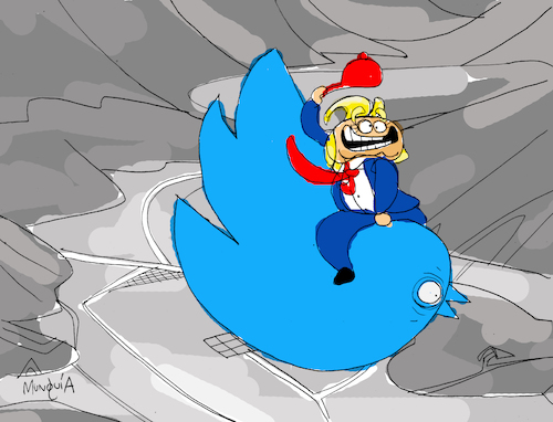 Cartoon: Twitter Bomb (medium) by Munguia tagged donald,trump,twitter,bird,logo,red,hat,kubrick,droping,bomb,dr,strangelove,cowboy,stanley