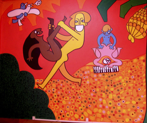 Cartoon: Porn Paradise Mural Details (medium) by Munguia tagged munguia,art,color,mural,kamasutra,men,woman,hard,naked,love,costa,rica
