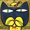 Cartoon: Catman and Robin (small) by Munguia tagged bird,and,cat,parody,version,spoof,paul,klee,famous,painting,batman,robin