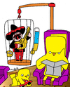 Cartoon: charro in captivity (small) by Munguia tagged charro,mexican,caged,cage,jail,captivity,cautiverio,canary,canario,singer,sing,music