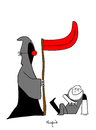 Cartoon: died laughing (small) by Munguia tagged dead,death,muerto,clown,red,nose