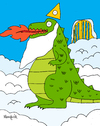Cartoon: GODzilla (small) by Munguia tagged god,godzilla,lizard,heaven,dragon,dinosaur