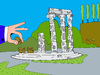 Cartoon: Greek ruins (small) by Munguia tagged grece,greek,crisis,economy,financial,euro,europe,europa,money,coins,cents,5cents,munguia,costa,rica,humor,grafico,ruins