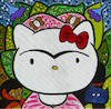 Cartoon: Hello Frida! (small) by Munguia tagged frida,kahlo,hello,kitty,cat,famous,paintings,parodies,selfportrait