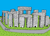 Cartoon: Modern City (small) by Munguia tagged city,buildings,stonehenge,neolithic,primitive,stone,parody