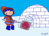 Cartoon: North Pole Pizza (small) by Munguia tagged pizzapitch,iglu,esquimal,north,pole,ice,cold,munguia,cartoon,caricatura,costa,rica,costarricense,tico