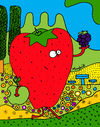 Cartoon: Strawberry Friends Forever (small) by Munguia tagged strawberry,blackberry,berry,apple,fruit