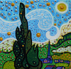 Cartoon: Sunny Day (small) by Munguia tagged starry,night,vincent,van,gogh,noche,estrellada,spoof,famous,paintings,parodies