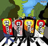 Cartoon: The Chiclets (small) by Munguia tagged abbey,road,the,beatles,cliclets,adams,bubble,gum,goma,de,mascar,mind,parody,cover,album,calcamunguias