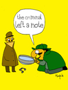 Cartoon: The Criminal left a note (small) by Munguia tagged sherlock,holmes,detective,lupa,note,music,musical