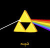 Cartoon: The dark side of the Triforce (small) by Munguia tagged triforce,link,zelda,pink,floyd,nintendo,album,cover,parody,parodies