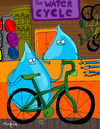 Cartoon: The Water Cycle (small) by Munguia tagged cycle,shop,water,drop,bike,bicycle,store,agua,ciclo,del,munguia,calcamunguias,costa,rica,humor,grafico,literal