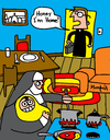Cartoon: UnFamiliar (small) by Munguia tagged priest,nun,monja,sacerdote,padre,church,femenist,role,woman,religious