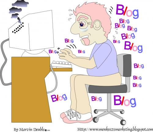 Cartoon: Frantic Blogger (medium) by mdouble tagged cartoon,illustration,blogging,blogger,blogs,humor,satire,