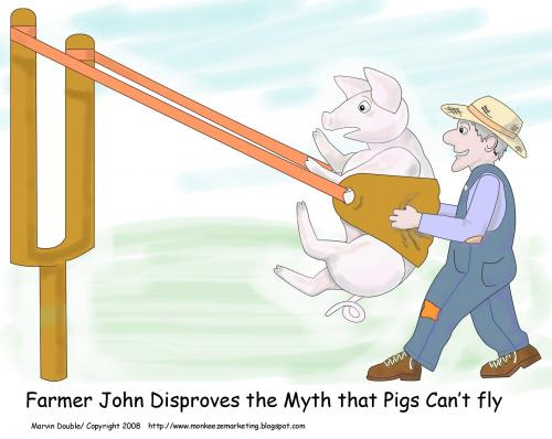 Cartoon: Getting Pigs to Fly (medium) by mdouble tagged humor,cartoon,funny,fun,joke,gag,silly,pigs,pig,fly,flying,farmer,slingshot,