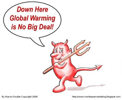 Cartoon: Global Warming is No Problem (medium) by mdouble tagged devil,global,warming,cartoon,humor,environment,