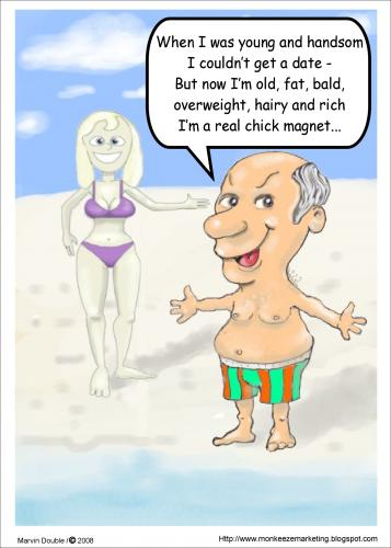 Cartoon: Magnetic Money (medium) by mdouble tagged old,humor,cartoon,funny,fun,joke,bald,fat,rich,guy,wealth,wealthy,love,man,woman,money,attraction,attractive,beach,bathind,suite,bikini,