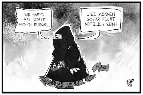 Cartoon: AfD-Parteispenden (medium) by Kostas Koufogiorgos tagged karikatur,koufogiorgos,illustration,cartoon,afd,parteispenden,burka,verstecken,korruption,partei,geld,karikatur,koufogiorgos,illustration,cartoon,afd,parteispenden,burka,verstecken,korruption,partei,geld