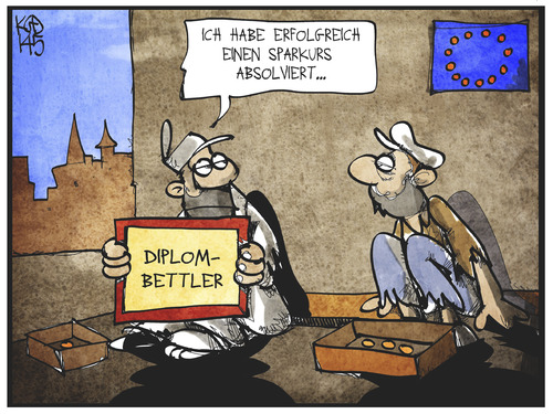 Cartoon: Armut in Europa (medium) by Kostas Koufogiorgos tagged karikatur,koufogiorgos,illustration,cartoon,armut,europa,eu,sparkurs,bettler,wirtschaft,politik,diplom,zertifikat,karikatur,koufogiorgos,illustration,cartoon,armut,europa,eu,sparkurs,bettler,wirtschaft,politik,diplom,zertifikat