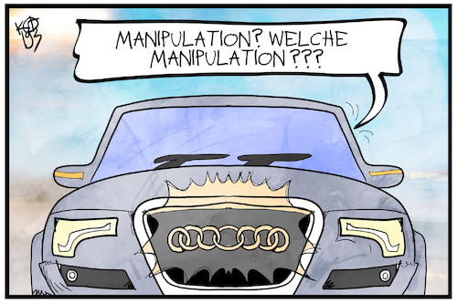 Cartoon: Audi manipuliert (medium) by Kostas Koufogiorgos tagged karikatur,koufogiorgos,illustration,cartoon,audi,autobauer,automobilindustrie,wirtschaft,dieselgate,betrug,manipulation,logo,karikatur,koufogiorgos,illustration,cartoon,audi,autobauer,automobilindustrie,wirtschaft,dieselgate,betrug,manipulation,logo