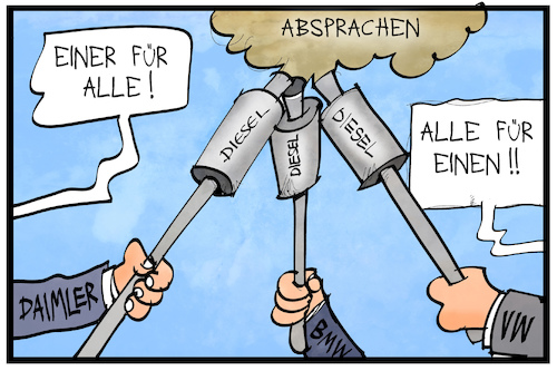 Cartoon: Autobauer-Absprachen (medium) by Kostas Koufogiorgos tagged karikatur,koufogiorgos,illustration,cartoon,autobauer,kartell,industrie,wirtschaft,absprache,korruption,musketiere,auspuff,dieselgate,karikatur,koufogiorgos,illustration,cartoon,autobauer,kartell,industrie,wirtschaft,absprache,korruption,musketiere,auspuff,dieselgate