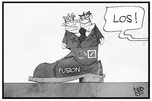 Cartoon: Bankenfusion (medium) by Kostas Koufogiorgos tagged karikatur,koufogiorgos,illustration,cartoon,bank,fusion,commerzbank,deutsche,wirtschaft,karikatur,koufogiorgos,illustration,cartoon,bank,fusion,commerzbank,deutsche,wirtschaft