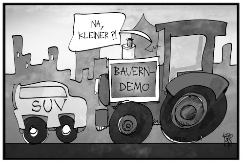 Cartoon: Bauernprotest (medium) by Kostas Koufogiorgos tagged karikatur,koufogiorgos,illustration,cartoon,bauern,protest,traktor,suv,blockade,demonstration,trecker,bauer,landwirt,karikatur,koufogiorgos,illustration,cartoon,bauern,protest,traktor,suv,blockade,demonstration,trecker,bauer,landwirt