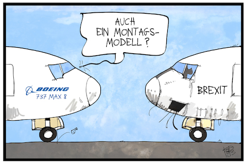 Cartoon: Brexit (medium) by Kostas Koufogiorgos tagged karikatur,koufogiorgos,illustration,cartoon,brexit,flugzeug,boeing,montagsmodell,karikatur,koufogiorgos,illustration,cartoon,brexit,flugzeug,boeing,montagsmodell