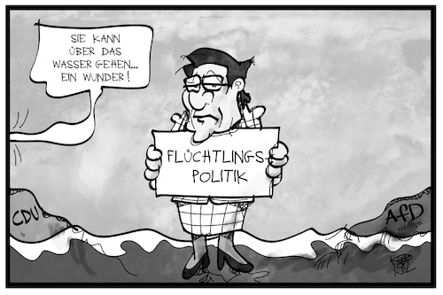 Cartoon: CDU-Flüchtlingspolitik (medium) by Kostas Koufogiorgos tagged karikatur,koufogiorgos,illustration,cartoon,akk,kramp,carrenbauer,cdu,union,flüchtlingspolitik,afd,wasser,wunder,karikatur,koufogiorgos,illustration,cartoon,akk,kramp,carrenbauer,cdu,union,flüchtlingspolitik,afd,wasser,wunder