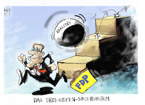 Cartoon: Das FDP-Steuermodell (medium) by Kostas Koufogiorgos tagged