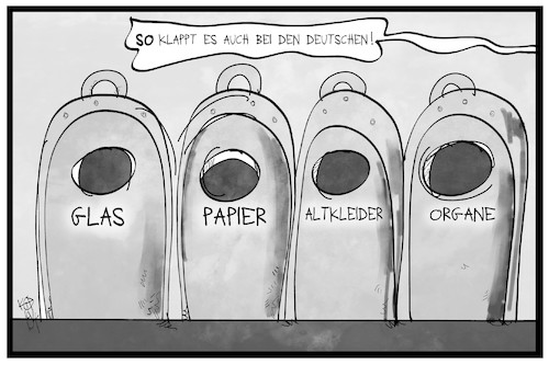 Cartoon: Debatte um die Organspende (medium) by Kostas Koufogiorgos tagged karikatur,koufogiorgos,illustration,cartoon,organ,organspende,müll,mülltrennung,recycling,gesundheit,karikatur,koufogiorgos,illustration,cartoon,organ,organspende,müll,mülltrennung,recycling,gesundheit
