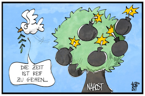 Cartoon: Der Nahost-Konflikt eskaliert (medium) by Kostas Koufogiorgos tagged karikatur,koufogiorgos,illustration,cartoon,nahost,konflikt,friedenstaube,baum,früchte,bombe,eskalation,karikatur,koufogiorgos,illustration,cartoon,nahost,konflikt,friedenstaube,baum,früchte,bombe,eskalation