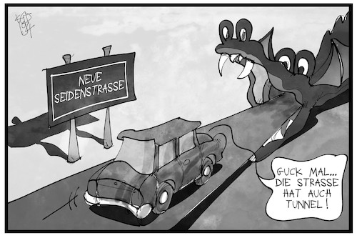 Cartoon: Die neue Seidenstraße (medium) by Kostas Koufogiorgos tagged karikatur,koufogiorgos,illustration,cartoon,seidenstrasse,china,drache,tunnel,transit,verkehr,wirtschaft,handel,weg,route,karikatur,koufogiorgos,illustration,cartoon,seidenstrasse,china,drache,tunnel,transit,verkehr,wirtschaft,handel,weg,route