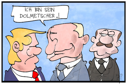 Cartoon: Erdogan bei Trump (medium) by Kostas Koufogiorgos tagged karikatur,koufogiorgos,illustration,cartoon,erdogan,trump,putin,besuch,dolmetscher,usa,tuerkei,russland,karikatur,koufogiorgos,illustration,cartoon,erdogan,trump,putin,besuch,dolmetscher,usa,tuerkei,russland