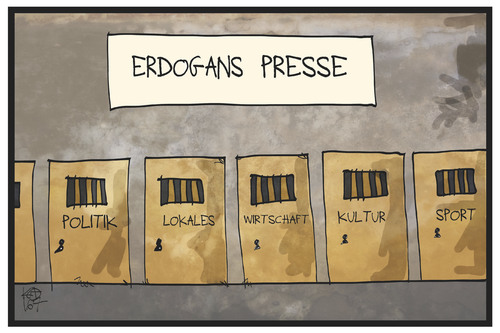 Cartoon: Erdogans Presse (medium) by Kostas Koufogiorgos tagged karikatur,koufogiorgos,illustration,cartoon,erdogan,tuerkei,journalisten,haft,ermittlung,justiz,gefängnis,putschversuch,zensur,presse,karikatur,koufogiorgos,illustration,cartoon,erdogan,tuerkei,journalisten,haft,ermittlung,justiz,gefängnis,putschversuch,zensur,presse