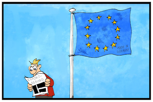 Cartoon: Exportrekord (medium) by Kostas Koufogiorgos tagged karikatur,koufogiorgos,illustration,cartoon,export,rekord,fahne,flagge,eu,europa,zeitung,michel,meldung,nachricht,karikatur,koufogiorgos,illustration,cartoon,export,rekord,fahne,flagge,eu,europa,zeitung,michel,meldung,nachricht