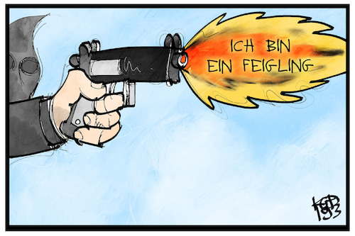 Cartoon: Feige Anschläge (medium) by Kostas Koufogiorgos tagged karikatur,koufogiorgos,illustration,cartoon,anschlag,amok,terrorismus,pistole,waffe,feigheit,karikatur,koufogiorgos,illustration,cartoon,anschlag,amok,terrorismus,pistole,waffe,feigheit
