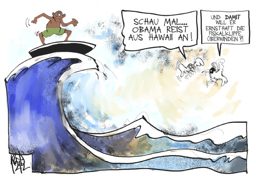 Cartoon: Fiskalklippe (medium) by Kostas Koufogiorgos tagged usa,republikaner,demokraten,fiskalklippe,hawaii,obama,surfen,haushalt,streit,fiscall,cliff,usa,republikaner,demokraten,fiskalklippe,hawaii,obama,surfen,haushalt,streit,fiscall,cliff