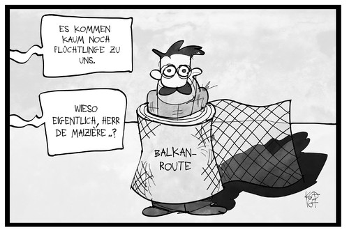 Cartoon: Flüchtlingszahlen (medium) by Kostas Koufogiorgos tagged karikatur,koufogiorgos,illustration,cartoon,maiziere,flüchtlingspolitik,flüchtling,asyl,balkanroute,grenze,grenzzaun,politik,karikatur,koufogiorgos,illustration,cartoon,maiziere,flüchtlingspolitik,flüchtling,asyl,balkanroute,grenze,grenzzaun,politik