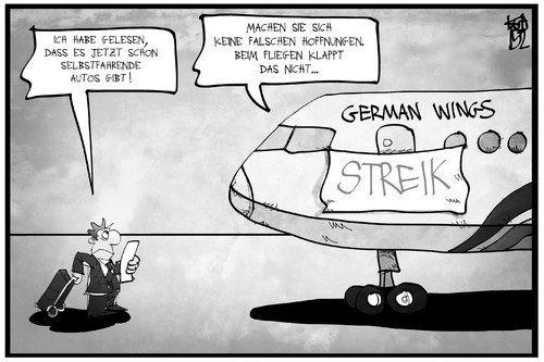 Cartoon: German Wings (medium) by Kostas Koufogiorgos tagged koufogiorgos,karikatur,illustration,cartoon,germanwings,lufthansa,flugzeug,streik,passagier,kunde,arbeitskampf,pilot,karikatur,koufogiorgos,illustration,cartoon,germanwings,lufthansa,flugzeug,streik,passagier,kunde,arbeitskampf,pilot