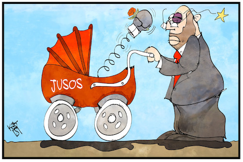 Cartoon: Jusos (medium) by Kostas Koufogiorgos tagged karikatur,koufogiorgos,illustration,cartoon,jusos,schulz,spd,wehren,kinderwagen,kind,jungsozialisten,sozialdemokratie,karikatur,koufogiorgos,illustration,cartoon,jusos,schulz,spd,wehren,kinderwagen,kind,jungsozialisten,sozialdemokratie