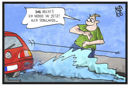 Cartoon: Klage für VW (medium) by Kostas Koufogiorgos tagged koufogiorgos,illustration,cartoon,karikatur,klage,vw,volkswagen,schadensersatz,automobil,konzern,wirtschaft,verklagen,dieselgate,koufogiorgos,illustration,cartoon,karikatur,klage,vw,volkswagen,schadensersatz,automobil,konzern,wirtschaft,verklagen,dieselgate