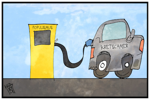Cartoon: Kretschmer tankt (medium) by Kostas Koufogiorgos tagged karikatur,koufogiorgos,illustration,cartoon,kretschmer,klimapaket,populismus,tanken,ladesäule,eauto,umwelt,karikatur,koufogiorgos,illustration,cartoon,kretschmer,klimapaket,populismus,tanken,ladesäule,eauto,umwelt