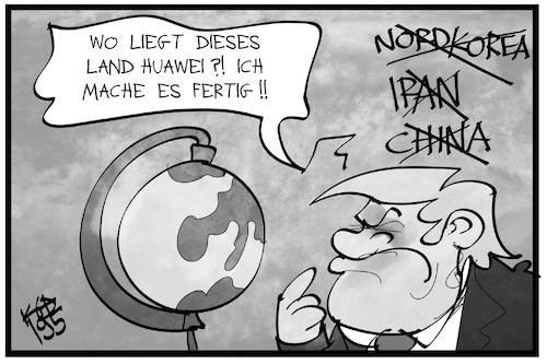 Cartoon: Krieg gegen Huawei (medium) by Kostas Koufogiorgos tagged karikatur,koufogiorgos,illustration,cartoon,trump,huawei,globus,land,bildung,telekom,notstand,dekret,erdkunde,karikatur,koufogiorgos,illustration,cartoon,trump,huawei,globus,land,bildung,telekom,notstand,dekret,erdkunde