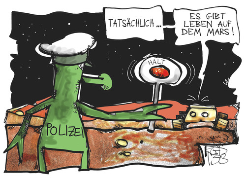 Cartoon: Leben auf dem Mars (medium) by Kostas Koufogiorgos tagged mars,curiosity,polizei,alien,ausserirdischer,marsmensch,expedition,nasa,karikatur,kostas,koufogiorgos,mars,curiosity,polizei,alien,ausserirdischer,marsmensch,expedition,nasa,karikatur,kostas,koufogiorgos