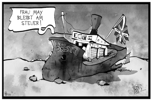 Cartoon: May bleibt (medium) by Kostas Koufogiorgos tagged karikatur,koufogiorgos,illustration,cartoon,may,brexit,uk,schiff,auflaufen,europa,austritt,eu,kapitän,steuer,karikatur,koufogiorgos,illustration,cartoon,may,brexit,uk,schiff,auflaufen,europa,austritt,eu,kapitän,steuer