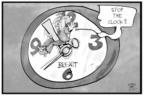 Cartoon: Mehr Zeit für den Brexit (medium) by Kostas Koufogiorgos tagged karikatur,koufogiorgos,illustration,cartoon,brexit,uhr,may,deal,zeit,eu,austritt,uk,grossbritannien,karikatur,koufogiorgos,illustration,cartoon,brexit,uhr,may,deal,zeit,eu,austritt,uk,grossbritannien